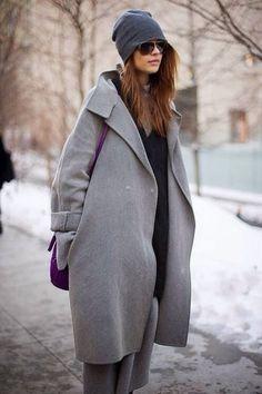 Gray Coat & beanie #winter #fashion