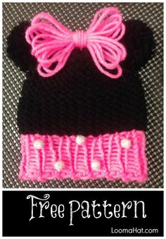 Loom Knit Minnie Mouse Hat - Easy FREE Pattern http://www.loomahat.com/loom-knit-minnie-mouse-hat/