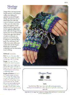 Knitting Pattern Fingerless Gloves Hand Warmers Dragon Paws
