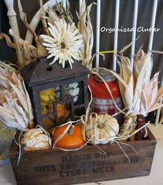A Rustic Fall Vignette in a Wooden Crate