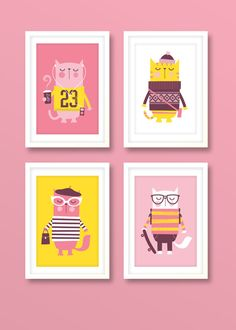 Set of 4 cat prints girls nursery print cute by BubbleGumYears, £27.99