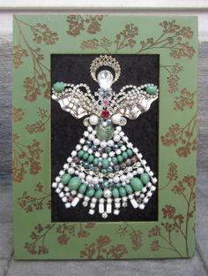 VINTAGE FRAMED RHINESTONE COSTUME JEWELRY CHRISTMAS TREE ANGEL ART BY MICHELLE!