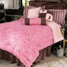 Pink and brown bedding pink comforter pink paisley western bedding