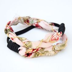 Use a couple of fabric scraps and a gold chain to create a braided headband.