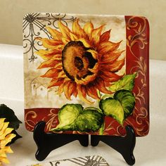 Tuscan Sunflower Dessert Plate Set Multi Warm Set of Four