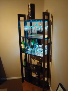 wine bars, bookcas, liquor bottles, lighting ideas, wine bottles, apartment bar ideas, ikea, man caves, home bars