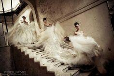models, vintage designs, wedding dressses, fox, stairway, fashion art, fashion photography, vogue magazine, luke woodford