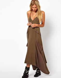 draped pocket maxi