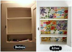 mod podg, redoing medicine cabinets, medicine cabinet redo, scrap paper, diy craft, hous, medicin cabinet, bathroom, medicines