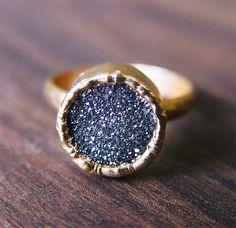 Black Druzy Gold Ring. $79.00, via Etsy.