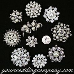 This pretty lot of 10 pearl and crystal brooches is perfect for creating a beautiful brooch bouquet, decorating wedding centerpieces or giving as bridesmaid gifts. www.yourweddingcompany.com