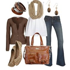 Brown and white outfit w/jeans