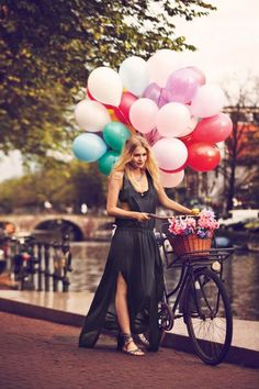 bicycles, wicker baskets, maxi dresses, bike rides, fashion editorials, amsterdam, balloons, walk, black
