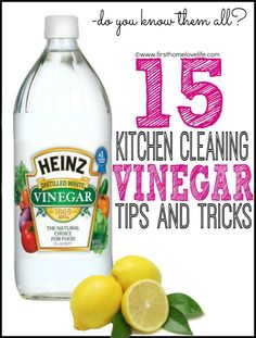 15 Kitchen Cleaning Uses for Vinegar and an AWESOME tip about using it with newspaper! #cleaning #organizing