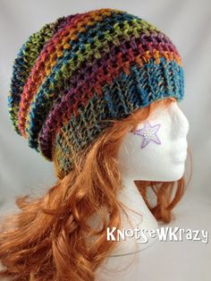 Crochet Slouchy Beanie - Rainbow