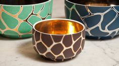 Giraffe Bowls - fabulous twist using a metallic base color