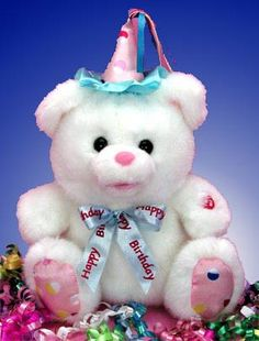Our Singing Birthday Bear   is a 12 inch bear that sings the birthday song.  White and trimmed in pink and blue, his cute bow tie says Happy Birthday .  The perfect birthday gift for any little or not so little one; no matter who your recipient is, young or old... our Singing Birthday Bear   will deliver your birthday greeting in style and with lots of hugs and smiles  $39.99 http://www.littlegiftbasketboutique.com/item_399/Singing-Birthday-Bear-Plush-Gift.htm
