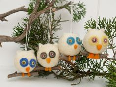 Felt Owl Ornament Christmas Wool Decorations Woodland Tree Fairytale Handmade Nursery Home Decor Blue White Green. $18.00, via Etsy.