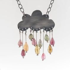 sterling silver Cloud Necklace with tourmaline gemstone rain drops.Sooo cute!