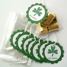 St. Patrick's Day treat bags and shamrock tags.