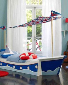 beds, boy bedrooms, boats, boy rooms, nautical theme, toddler bed, kid room, bedroom designs, little boys