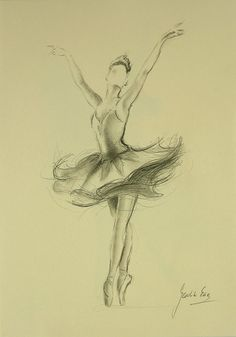 ORIGINAL unframed pencil drawing by Ewa Gawlik NOT a print. BALLERINA MEDIUM: pencil, graphite on CREAM paper MEASUREMENTS OF PAPER: 12 X 8
