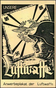 """""""UNSERE LUFTWAFFE"""" s/w-Karte, Anwerbeplakat der Luftwaffe im Postkartenformat,"""