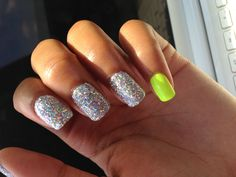 Shellac glitter nail with orly glow stick  Nails done at Therapy Boutique & Nail Bar  Memphis, Tennessee 38115