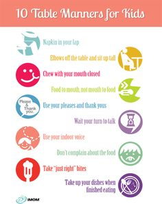 10 Table Manners for Kids. Easy way to teach your children how they should be acting in public.