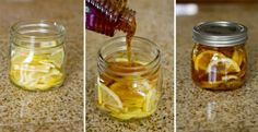 """Winter sore throat """"tea""""- In a jar combine lemon slices, organic honey and sliced ginger. Close jar and put it in the fridge, it will form into a """"jelly"""". To serve- spoon jelly into mug and pour boiling water over it. Store in fridge 2-3 months"""
