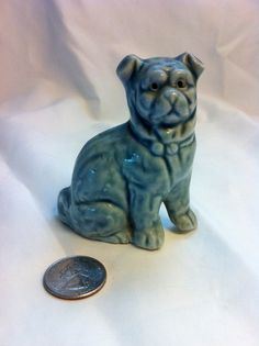 Rare BLUE Antique Victorian Staffordshire Pug by Friscogirly, $175.00