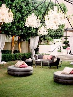 Outdoor wedding lounge area  Photo Source: I love pretty things #outdoorwedding #weddinglounge
