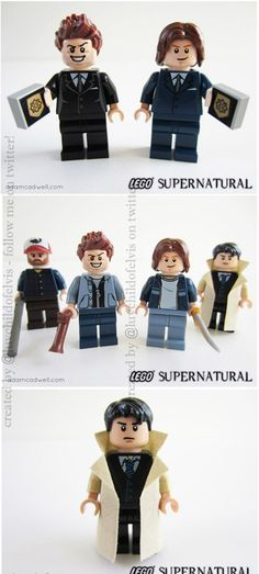 supernatural legos! their facial expressions crack me up, dean looks ridiculous @Brenna Farquharson Farquharson Farquharson Farquharson Weber