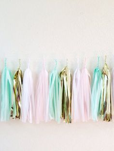 Pink and Mint Tassel Garland