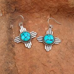 New Mexico Zia Symbol Turquoise and Silver Earrings by Santa Fe Silverworks