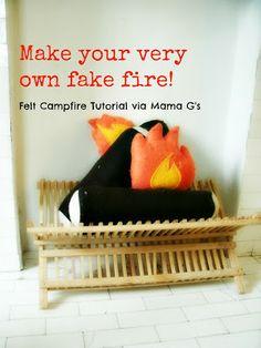 Make your very own fake fire! Felt campfire tutorial via Mama G's Big Crafty Blog