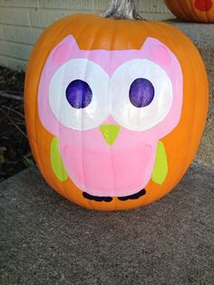 Pink Owl pumpkin painting
