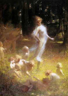 """Georges Picard (French, 1857-1946), """"Fairy and sprites in the undergrowth"""""""