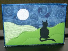 Cat and Moon Fabric Postcard Art Quilt- Landscape Fiber Art by SewUpscale