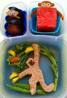 Swinging monkey bento    #EasyLunchBoxes, #bento, #lunchbox, #fun kid food, #vegan