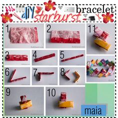 diy STARBURST bracelet recycle, reuse any candy wrappers