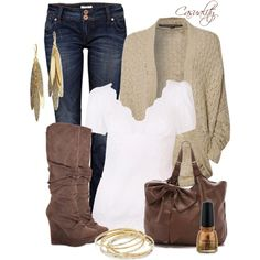 Casual Outfit Ideas | Dolce & Gabbana, Wedged Boots, & Cardigan | Fashionista Trends wedge boots, cloth, style, knee high boots, white shirts, fall fashion, brown boots, casual outfits, lace shorts