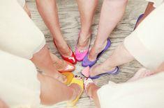 rainbow bridesmaid heels