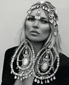 Kate Moss in vintage Christian Dior jewels for Another Magazine