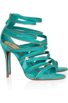 Christian Louboutin Turquoise Sandal #CL #Louboutins #Shoes