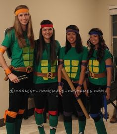 Cool Homemade Ninja Turtles Costume for a Group of Girls