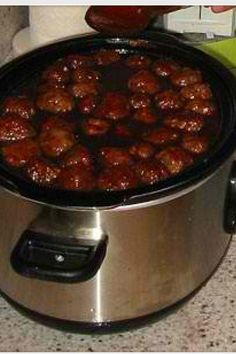 Meatball Recipe! 1 jar of grape jelly, 1 bottle of sweet baby rays BBQ sauce and 1 package of frozen meatballs. Cook in the crock pot for 6 hours