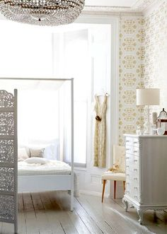 white and yellow bedroom
