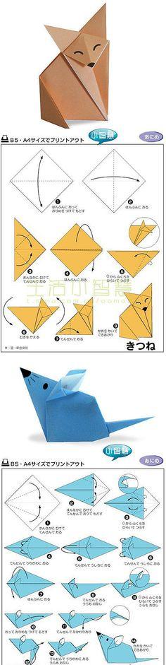 #Origami #zorro y #ratón