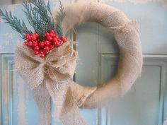Beautiful burlap wreath for the holidays
